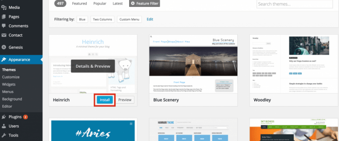 Start a blog with the perfect theme