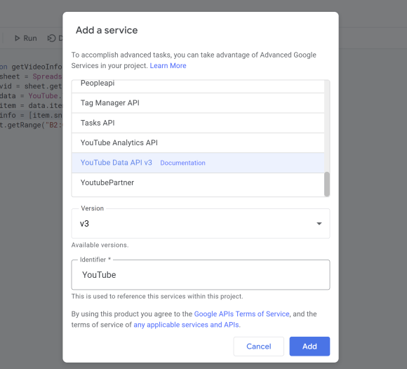"""The Add a Service dialog box. The YouTube Data API v3 contains a link to the documentation link and can be identified with """"YouTube""""."""