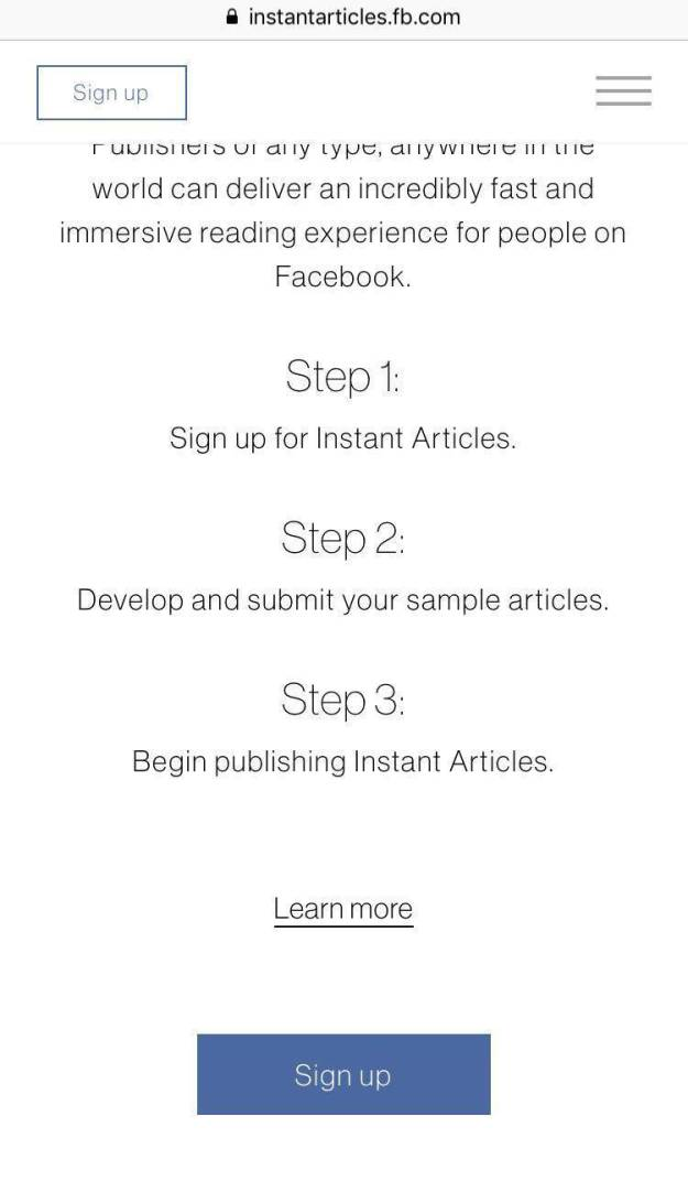 Facebook instant articles explanation