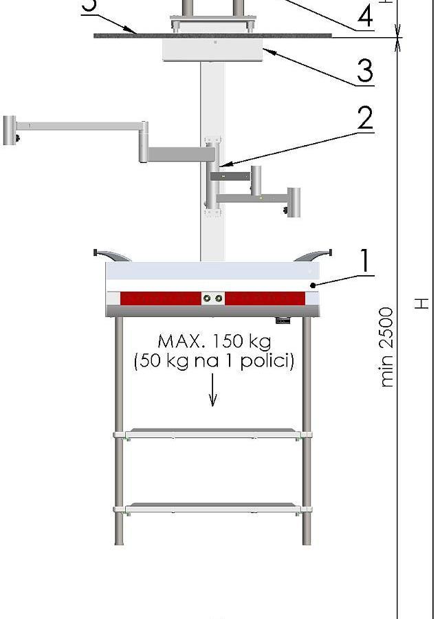 Консоль медицинского газоснабжения с потолочным креплением PS07