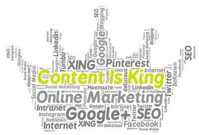 Een kroon van tekst met Content is king, online marketing, Google+, SEO en veel meer woorden die met een blog schrijven te maken hebben