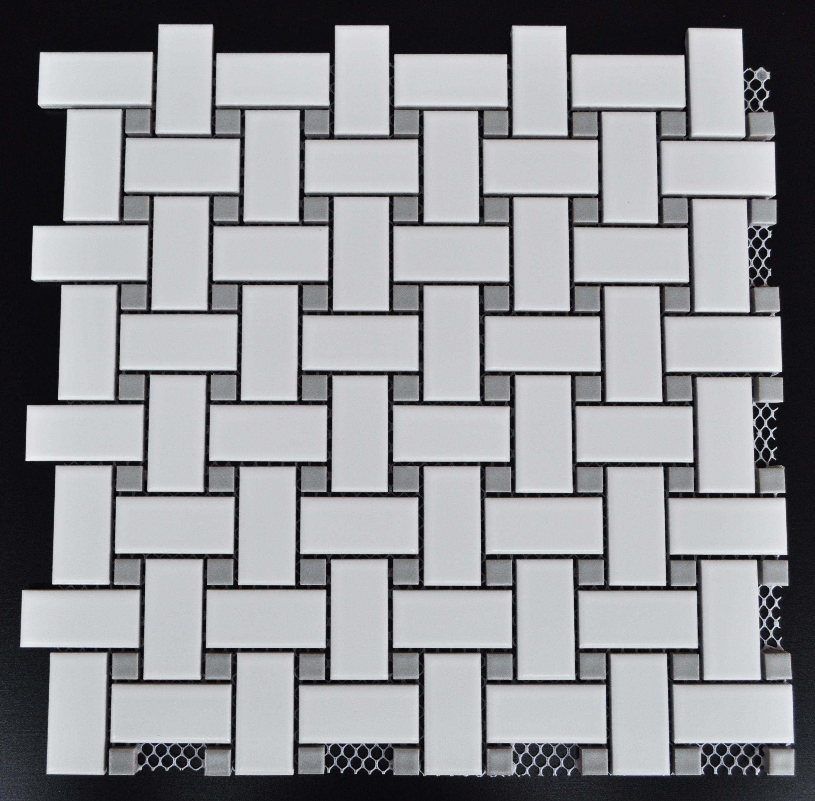 mg white basketweave mosaic with grey