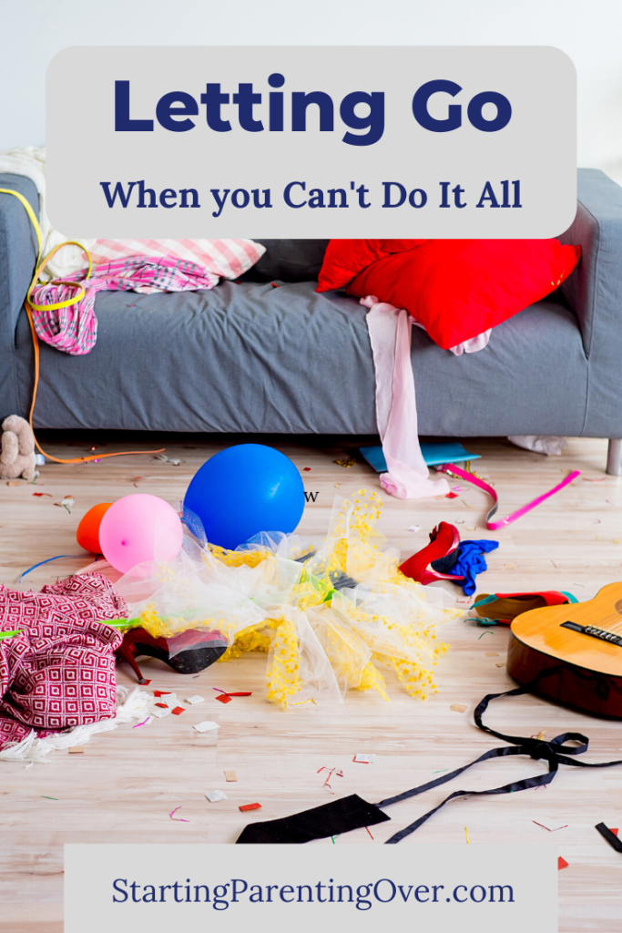 Feeling overwhelmed? Like you just can't do it all? Find out how letting go in the craziness of parenting can bring the peace you're looking for.