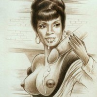 "Nice drawing of Nyota Uhura with her tits naked serving on of the biggest dicks on ""Enterprise""..."