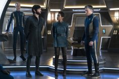 """If Memory Serves"" -- Ep#208 -- Pictured (l-r): Doug Jones as Saru; Ethan Peck as Spock; Sonequa Martin-Green as Burnham; Anson Mount as Captain Pike of the CBS All Access series STAR TREK: DISCOVERY. Photo Cr: Michael Gibson/CBS ©2018 CBS Interactive, Inc. All Rights Reserved."