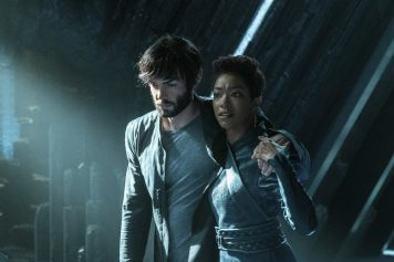 """If Memory Serves"" -- Ep#208 -- Pictured (l-r): Ethan Peck as Spock; Sonequa Martin-Green as Burnham of the CBS All Access series STAR TREK: DISCOVERY. Photo Cr: Michael Gibson/CBS ©2018 CBS Interactive, Inc. All Rights Reserved."