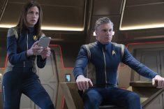"""Project Daedalus"" -- Ep#209 -- Pictured (l-r): Jayne Brook as Admiral Cornwell; Anson Mount as Captain Pike of the CBS All Access series STAR TREK: DISCOVERY. Photo Cr: Michael Gibson/CBS ©2018 CBS Interactive, Inc. All Rights Reserved."