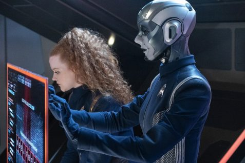 """Project Daedalus"" -- Ep#209 -- Pictured (l-r): Mary Wiseman as Tilly; Hannah Cheesman as Airiam 2.5 of the CBS All Access series STAR TREK: DISCOVERY. Photo Cr: Michael Gibson/CBS ©2018 CBS Interactive, Inc. All Rights Reserved."