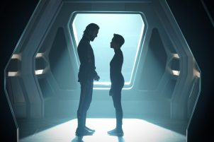 """""""Such Sweet Sorrow"""" -- Ep#213 -- Pictured (l-r): Shazad Latif as Tyler; Sonequa Martin-Green as Burnham of the CBS All Access series STAR TREK: DISCOVERY. Photo Cr: Ben Mark Holzberg/CBS ©2018 CBS Interactive, Inc. All Rights Reserved."""