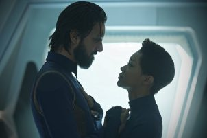 """Such Sweet Sorrow"" -- Ep#213 -- Pictured (l-r): Shazad Latif as Tyler; Sonequa Martin-Green as Burnham of the CBS All Access series STAR TREK: DISCOVERY. Photo Cr: Ben Mark Holzberg/CBS ©2018 CBS Interactive, Inc. All Rights Reserved."