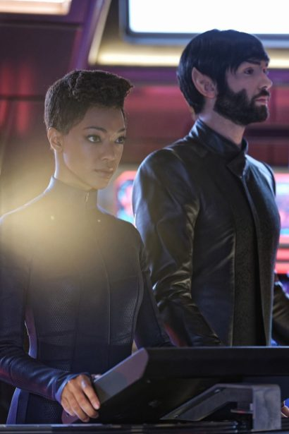 """""""Such Sweet Sorrow"""" -- Ep#213 -- Pictured (l-r): Sonequa Martin-Green as Burnham; Ethan Peck as Spock of the CBS All Access series STAR TREK: DISCOVERY. Photo Cr: Ben Mark Holzberg/CBS ©2018 CBS Interactive, Inc. All Rights Reserved."""