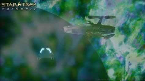 Shuttlecraft Okuda approaching the Valkyrie.