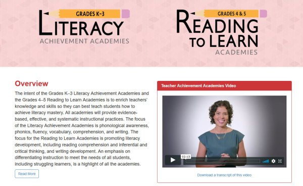 Literacy Achievement Academies & Reading to Learn Academies