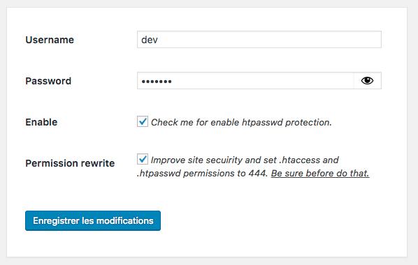 configuration mot de passe wordpress