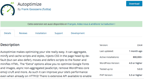 autoptimize plugin WordPress pour optimiser la performance