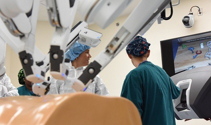 nurses at work with robots