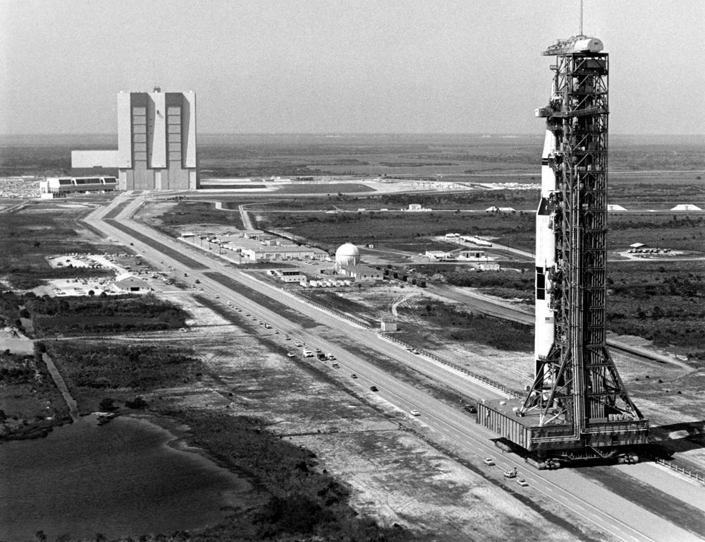Saturn Launcher on the way to launch Saturn V - Credit Nasa