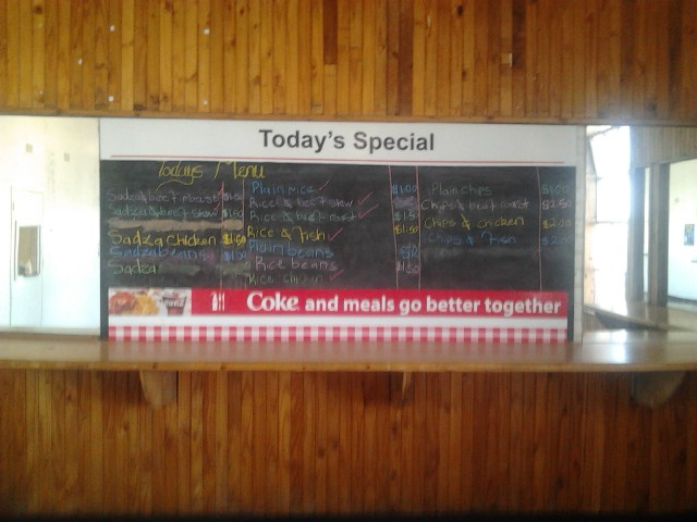 Price list for a fast food restaurant in Harare, Zimbabwe