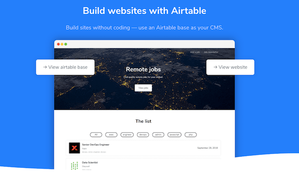airtable to website