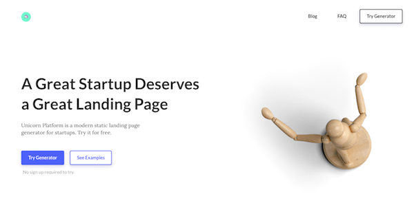 landing page for startups
