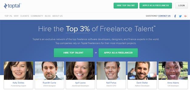 Toptal freelance developers designers marketplace website
