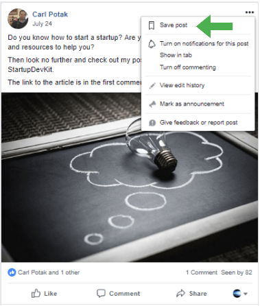 Saving Facebook Posts for later