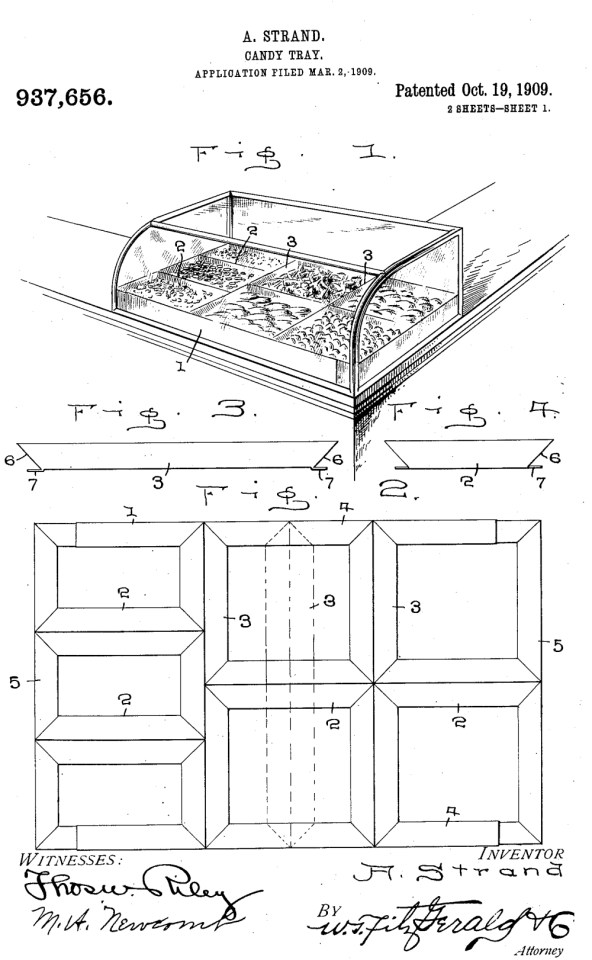 In 1909, Alfred Strand, of Wellington, invented a candy tray that could be used in shop counters.