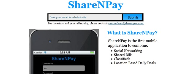 ShareNPay - startup Featured on StartUpLift