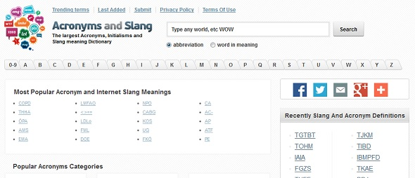Acronyms and Slangs - startup featured on StartUpLift for startup feedback and website feedback