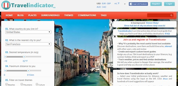 Travelindicator - startup featured on StartUpLift for startup and website feedback