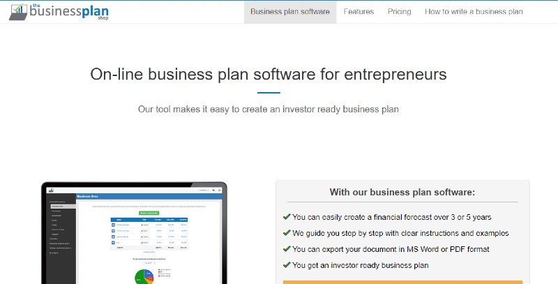 Business Plan Shop - Best Business Plan Software