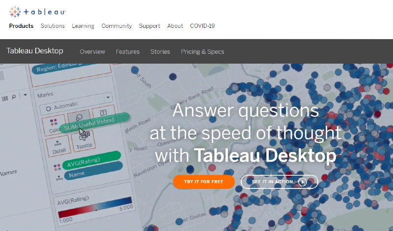 Tableau Desktop - Best Business Intelligence Software
