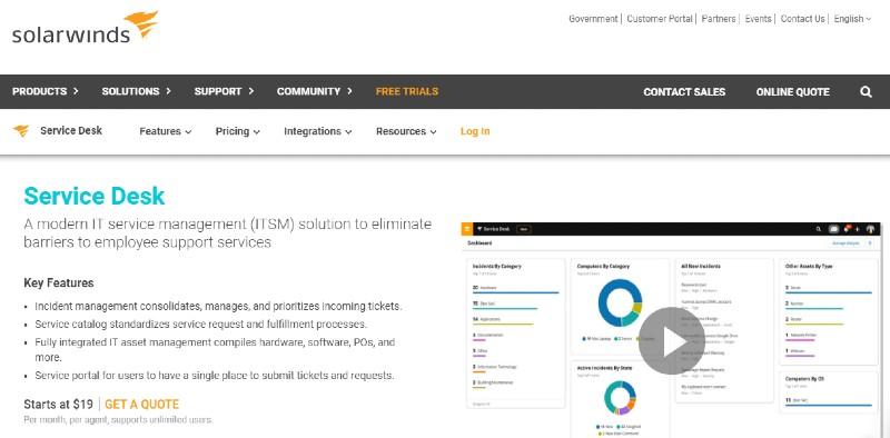 SolarWinds service desk - Best Incident Management Software