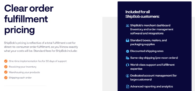 Pricing - ShipBob: Reliable Shipping Services