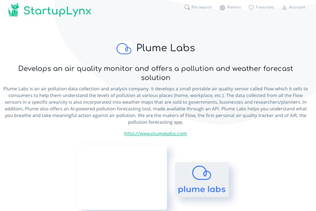 Plume Labs is an air pollution data collection and analysis company.