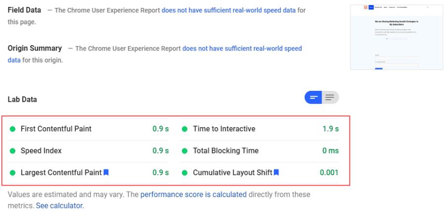 core web vital result