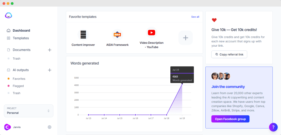 jarvis.ai review: dashboard