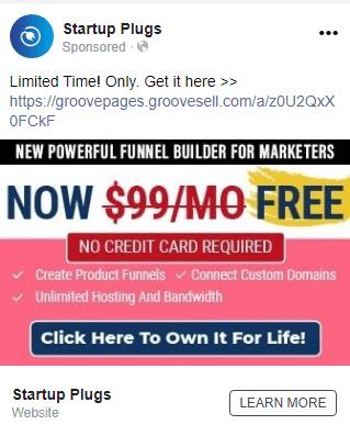 GrooveFunnels affiliate program: facebook ads sample