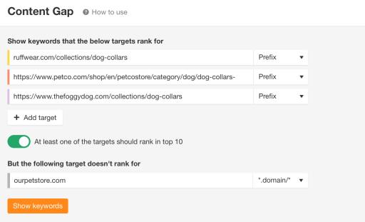 content gap tool in ahrefs