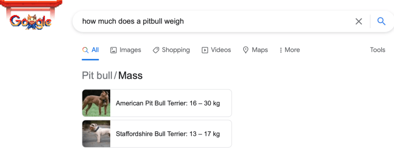 google search answer for how much a pitbull weighs