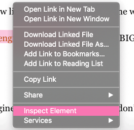 inspect element on a page