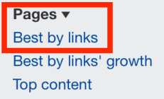 best by links report in ahrefs
