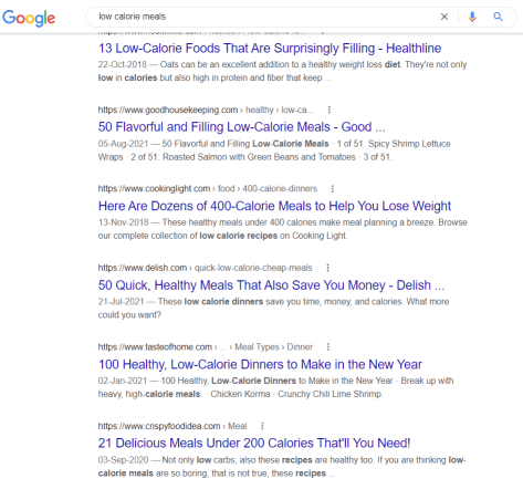 google search result for low calorie meals