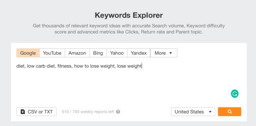 seed keywords in ahrefs' keywords explorer