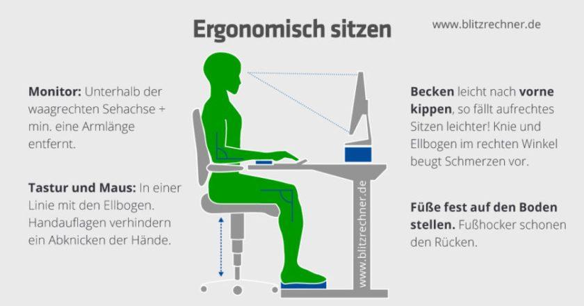 Bürostuhl - ergonomisches Sitzen (Bild: Blitzrechner.de)