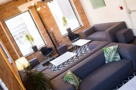 Comfortable lounge seating facing King St
