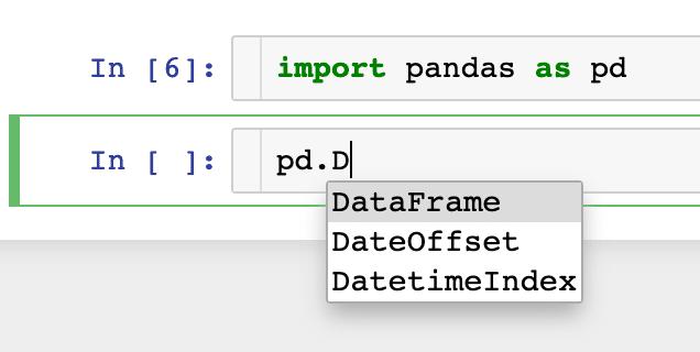 呼叫 pandas 第三方函式使用 Tab 來幫助我們找尋需要的function