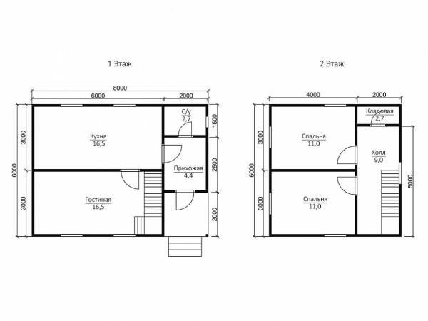 Проект Дом в 2 этажа 6х8: фото и планировка - цены на ...