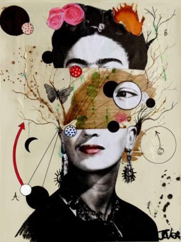 "Saatchi Art Artist: Loui Jover; Paint 2016 Collage ""deconstructing frida"""