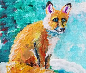 ACEO ORIGINAL FOX CHRISTMAS SNOW PAINTING BY ARTIST NORMAN COURTNEY